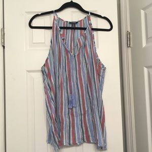Striped Chaps tank top with tassel tie